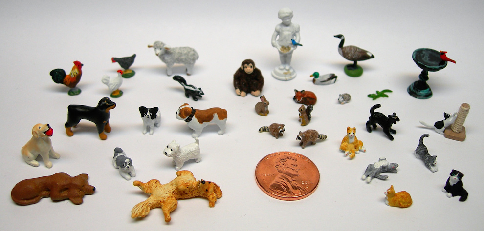 "Miniature animals and figures in 1"", 1/2"", 1/4"", and 1/144 scales by Barbara Ann Meyer"